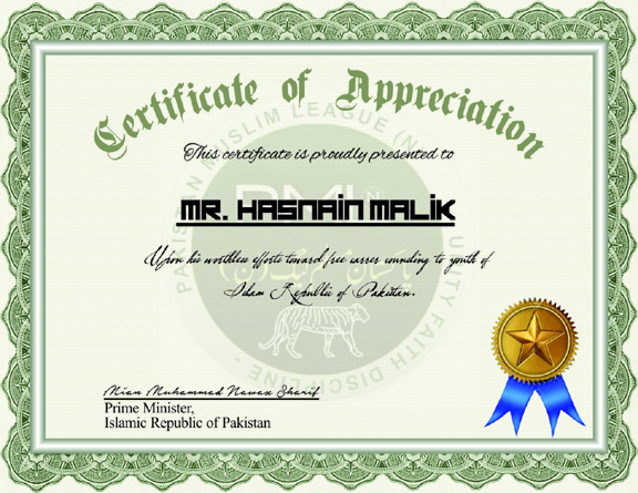 Appreciation Letter Awarded To Hasnain Malik By Prime Minister Of